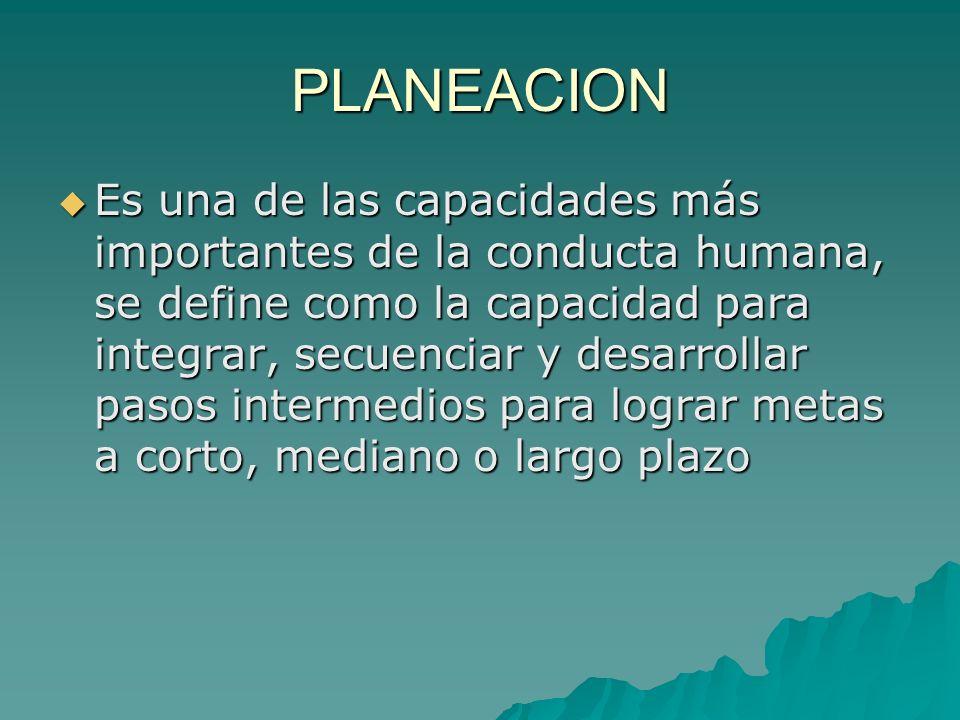 PLANEACION Es una de las capacidades más importantes de la conducta humana, se define como la capacidad para integrar, secuenciar y desarrollar pasos
