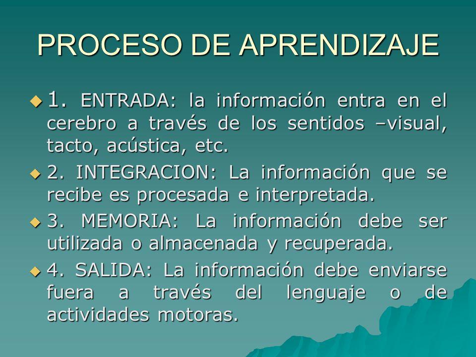 PROCESO DE APRENDIZAJE 1. ENTRADA: la información entra en el cerebro a través de los sentidos –visual, tacto, acústica, etc. 1. ENTRADA: la informaci
