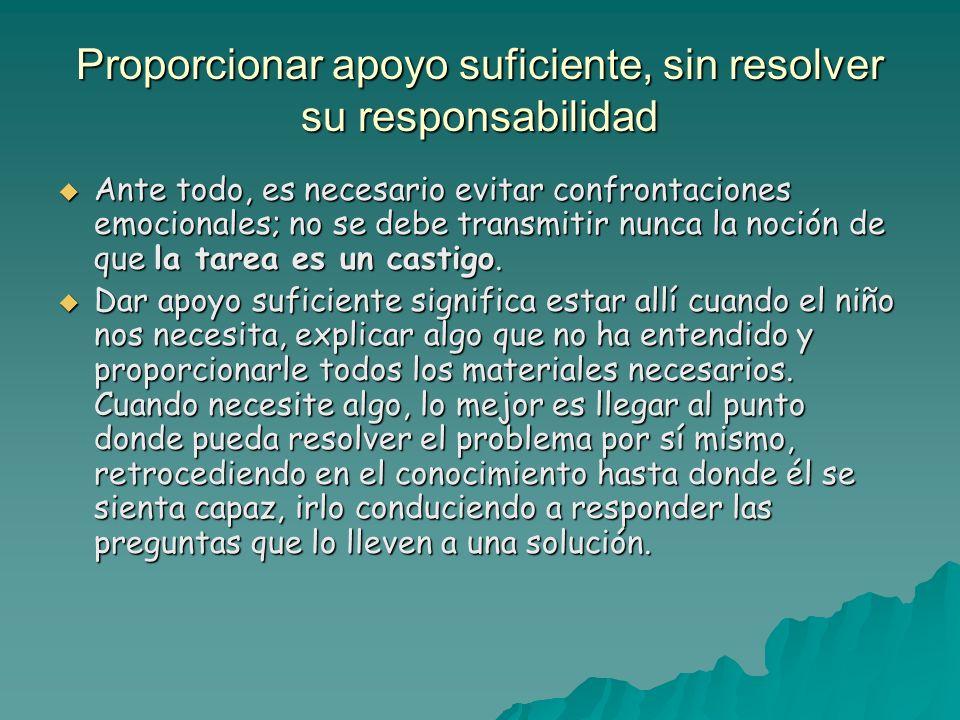 Proporcionar apoyo suficiente, sin resolver su responsabilidad Ante todo, es necesario evitar confrontaciones emocionales; no se debe transmitir nunca