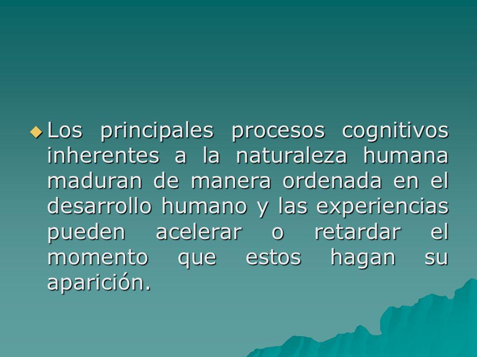 Los principales procesos cognitivos inherentes a la naturaleza humana maduran de manera ordenada en el desarrollo humano y las experiencias pueden ace
