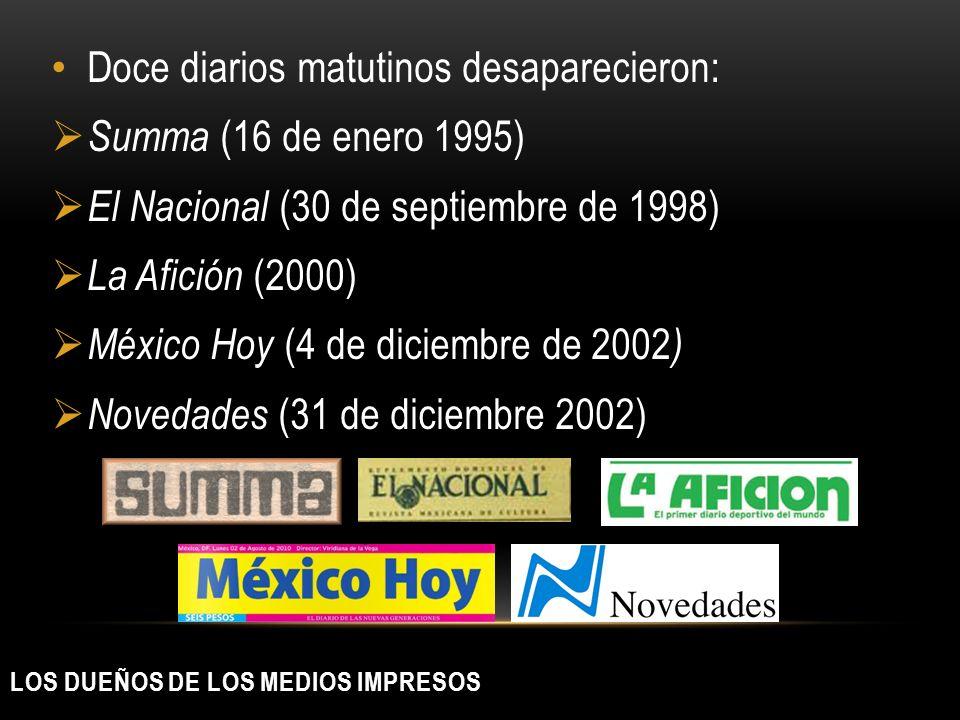 LOS DUEÑOS DE LOS MEDIOS IMPRESOS Doce diarios matutinos desaparecieron: Summa (16 de enero 1995) El Nacional (30 de septiembre de 1998) La Afición (2