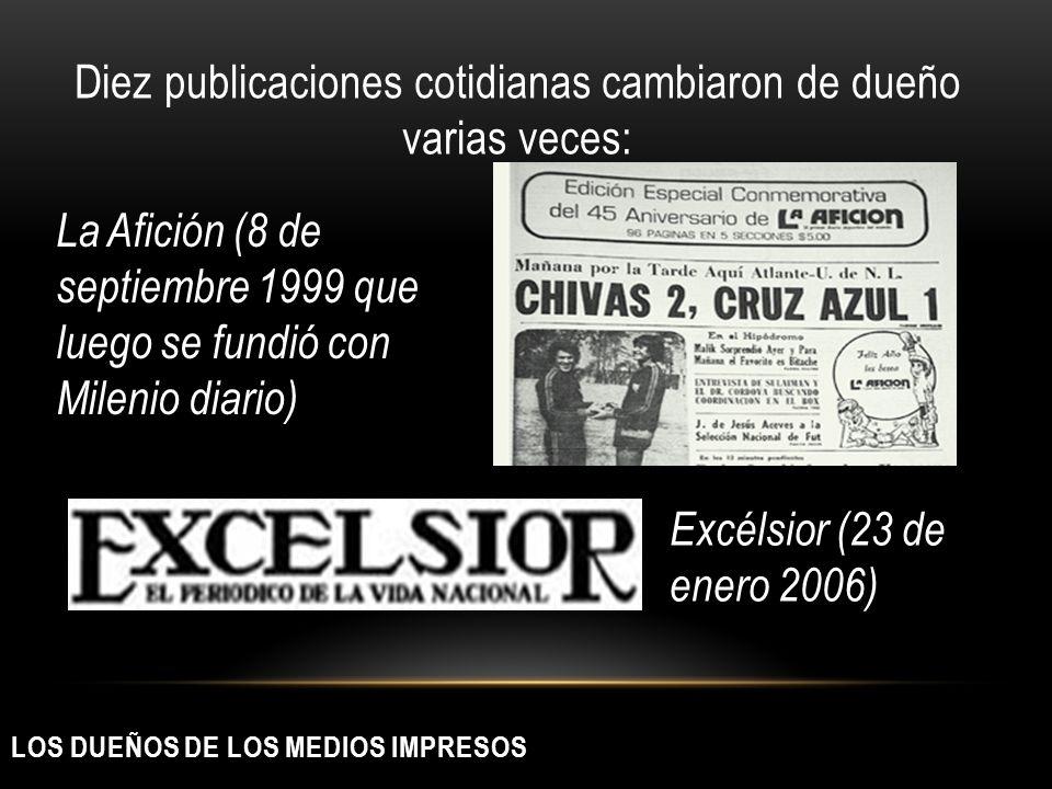 LOS DUEÑOS DE LOS MEDIOS IMPRESOS Diez publicaciones cotidianas cambiaron de dueño varias veces: La Afición (8 de septiembre 1999 que luego se fundió