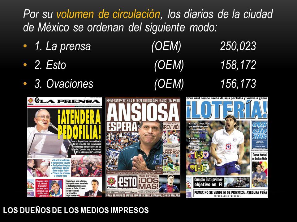 LOS DUEÑOS DE LOS MEDIOS IMPRESOS Por su volumen de circulación, los diarios de la ciudad de México se ordenan del siguiente modo: 1. La prensa (OEM)2