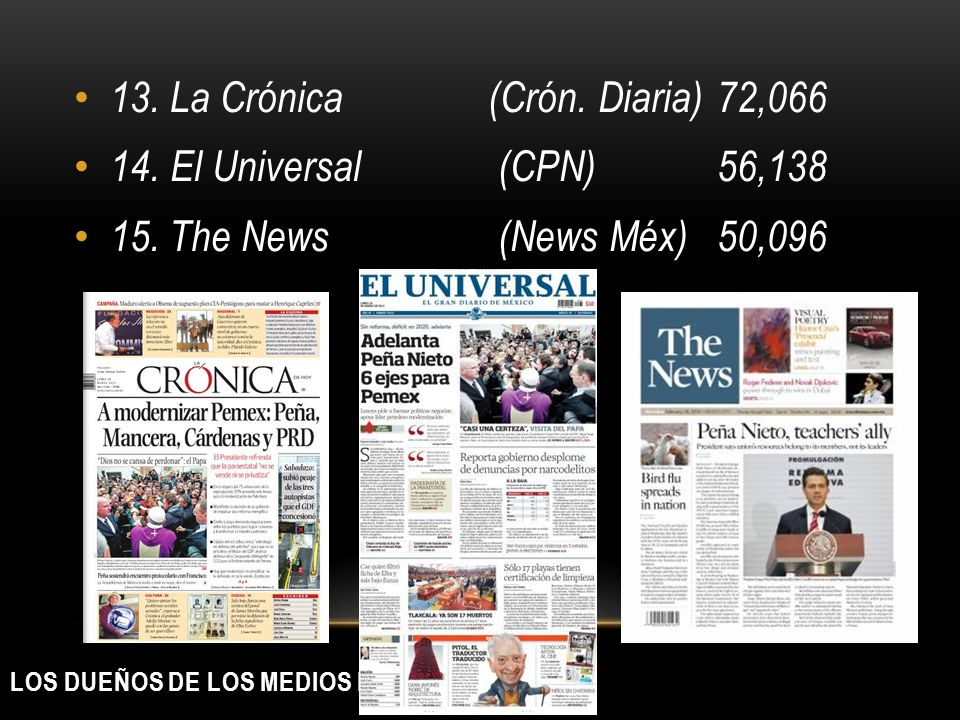 LOS DUEÑOS DE LOS MEDIOS IMPRESOS 13. La Crónica(Crón. Diaria)72,066 14. El Universal (CPN) 56,138 15. The News (News Méx) 50,096