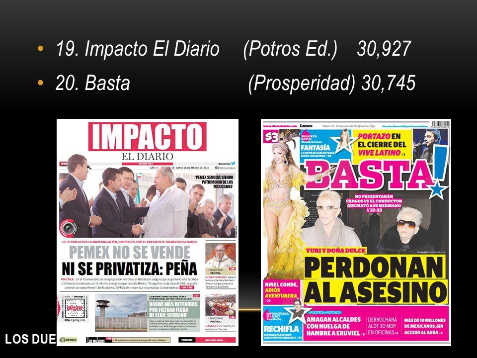 LOS DUEÑOS DE LOS MEDIOS IMPRESOS 19. Impacto El Diario(Potros Ed.)30,927 20. Basta (Prosperidad) 30,745