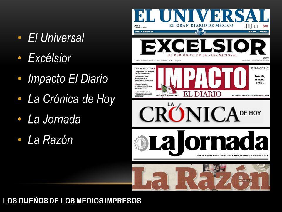 LOS DUEÑOS DE LOS MEDIOS IMPRESOS El Universal Excélsior Impacto El Diario La Crónica de Hoy La Jornada La Razón