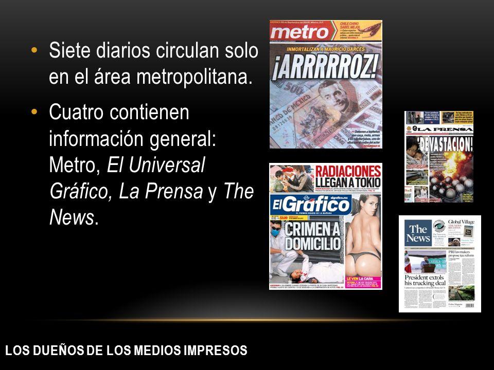 LOS DUEÑOS DE LOS MEDIOS IMPRESOS Siete diarios circulan solo en el área metropolitana. Cuatro contienen información general: Metro, El Universal Gráf