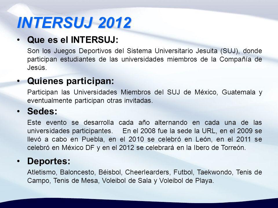 INTERSUJ 2012 Que es el INTERSUJ: Son los Juegos Deportivos del Sistema Universitario Jesuita (SUJ), donde participan estudiantes de las universidades