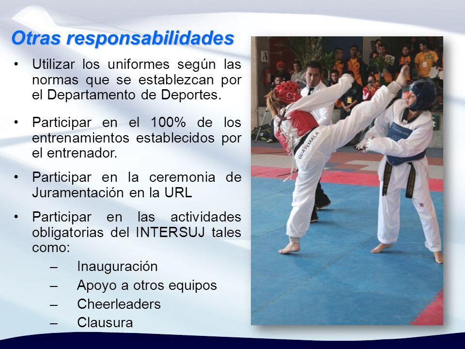 Participar en el 100% de los entrenamientos establecidos por el entrenador. Otras responsabilidades Participar en la ceremonia de Juramentación en la