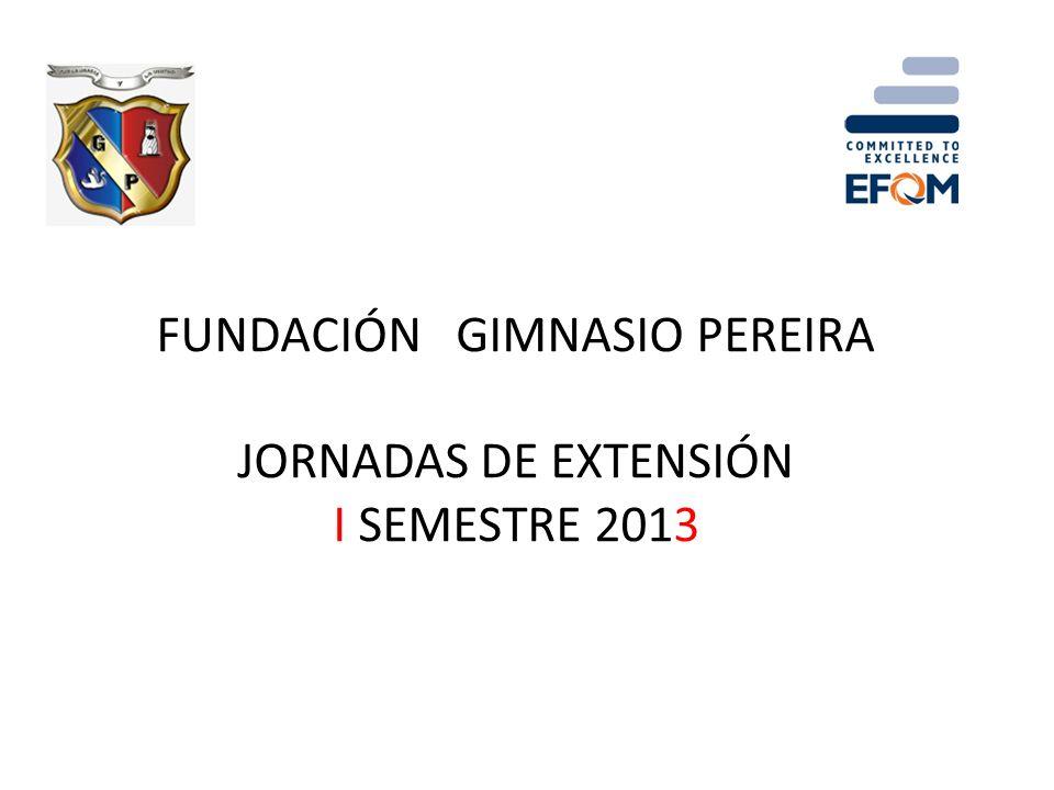 FUNDACIÓN GIMNASIO PEREIRA JORNADAS DE EXTENSIÓN I SEMESTRE 2013