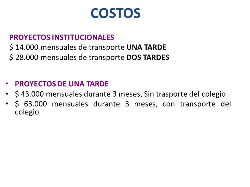COSTOS PROYECTOS INSTITUCIONALES $ 14.000 mensuales de transporte UNA TARDE $ 28.000 mensuales de transporte DOS TARDES PROYECTOS DE UNA TARDE $ 43.00
