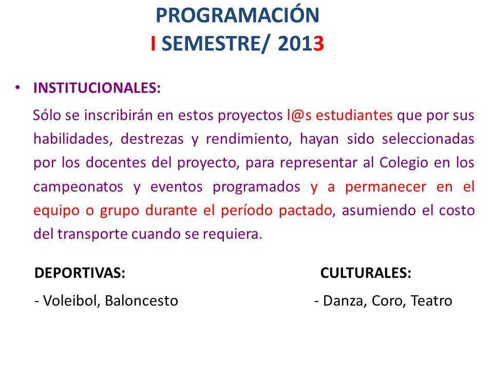 PROGRAMACIÓN I SEMESTRE/ 2013 INSTITUCIONALES: Sólo se inscribirán en estos proyectos l@s estudiantes que por sus habilidades, destrezas y rendimiento