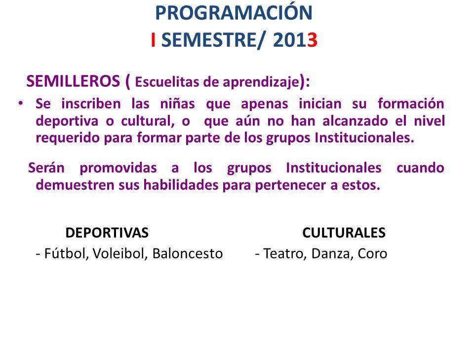 PROGRAMACIÓN I SEMESTRE/ 2013 SEMILLEROS ( Escuelitas de aprendizaje ): Se inscriben las niñas que apenas inician su formación deportiva o cultural, o