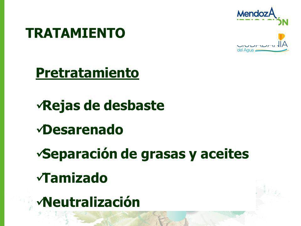 TRATAMIENTO Pretratamiento Rejas de desbaste Desarenado Separación de grasas y aceites Tamizado Neutralización