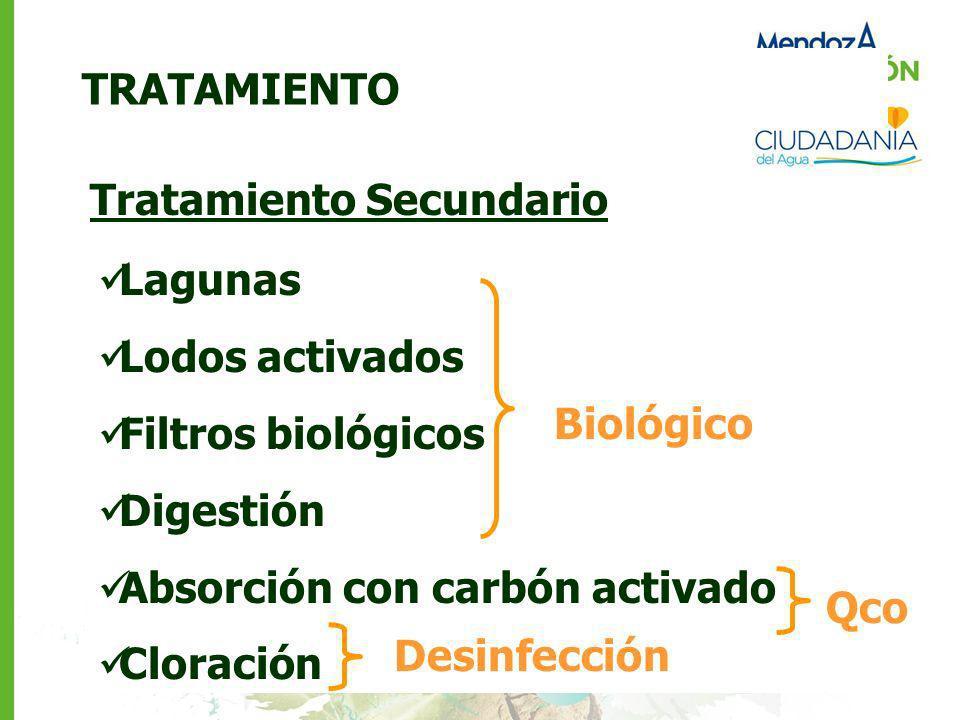 TRATAMIENTO Tratamiento Secundario Lagunas Lodos activados Filtros biológicos Digestión Absorción con carbón activado Cloración Biológico Qco Desinfec