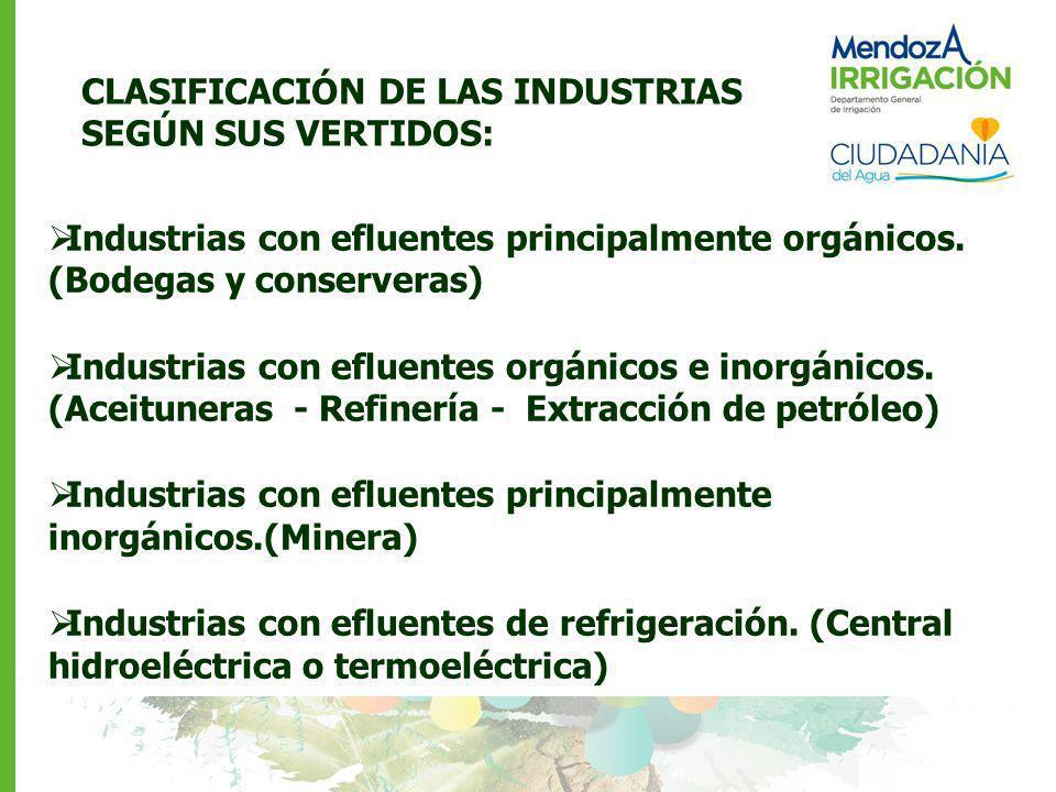 Industrias con efluentes principalmente orgánicos. (Bodegas y conserveras) Industrias con efluentes orgánicos e inorgánicos. (Aceituneras - Refinería