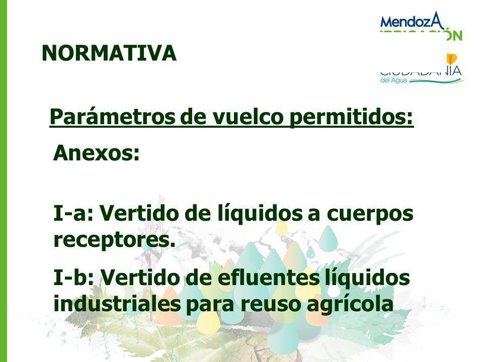 NORMATIVA Parámetros de vuelco permitidos: Anexos: I-a: Vertido de líquidos a cuerpos receptores. I-b: Vertido de efluentes líquidos industriales para