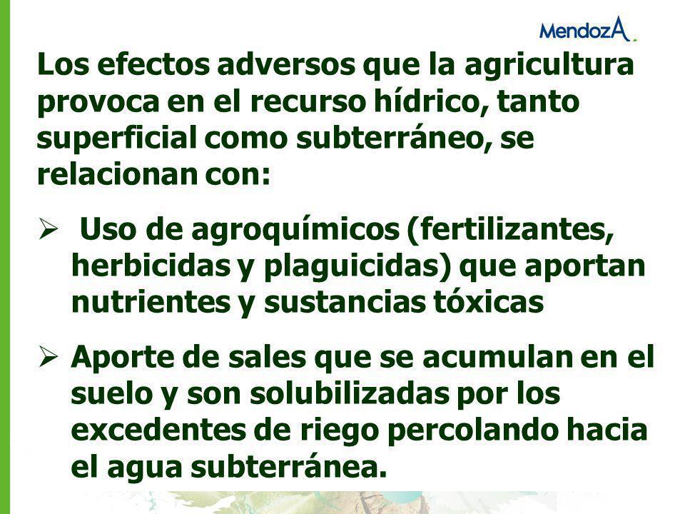 Los efectos adversos que la agricultura provoca en el recurso hídrico, tanto superficial como subterráneo, se relacionan con: Uso de agroquímicos (fer