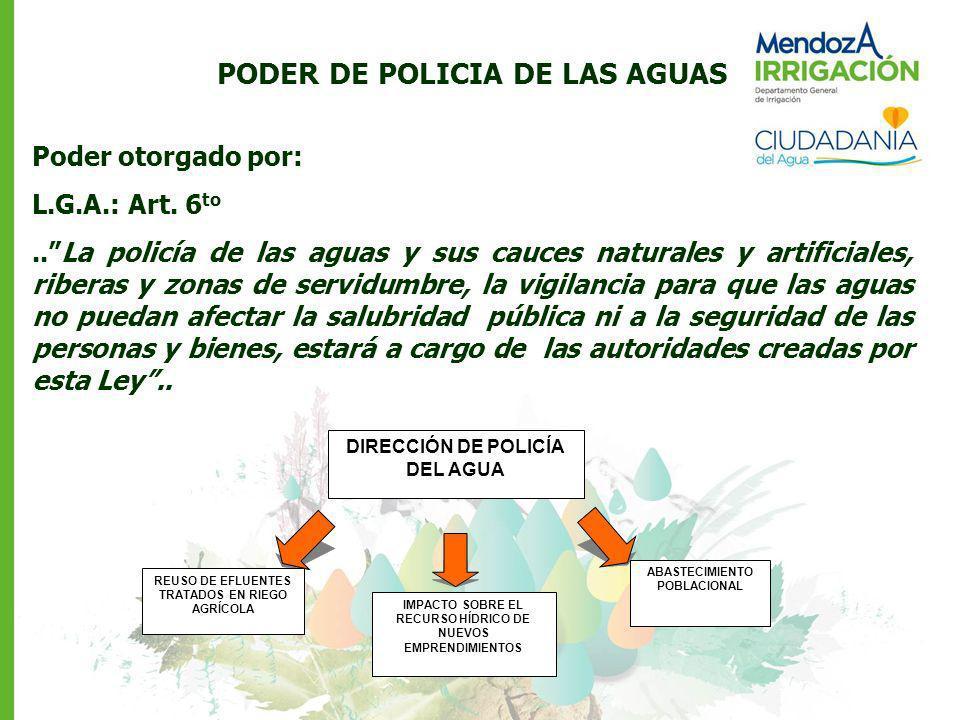 PODER DE POLICIA DE LAS AGUAS Poder otorgado por: L.G.A.: Art. 6 to..La policía de las aguas y sus cauces naturales y artificiales, riberas y zonas de