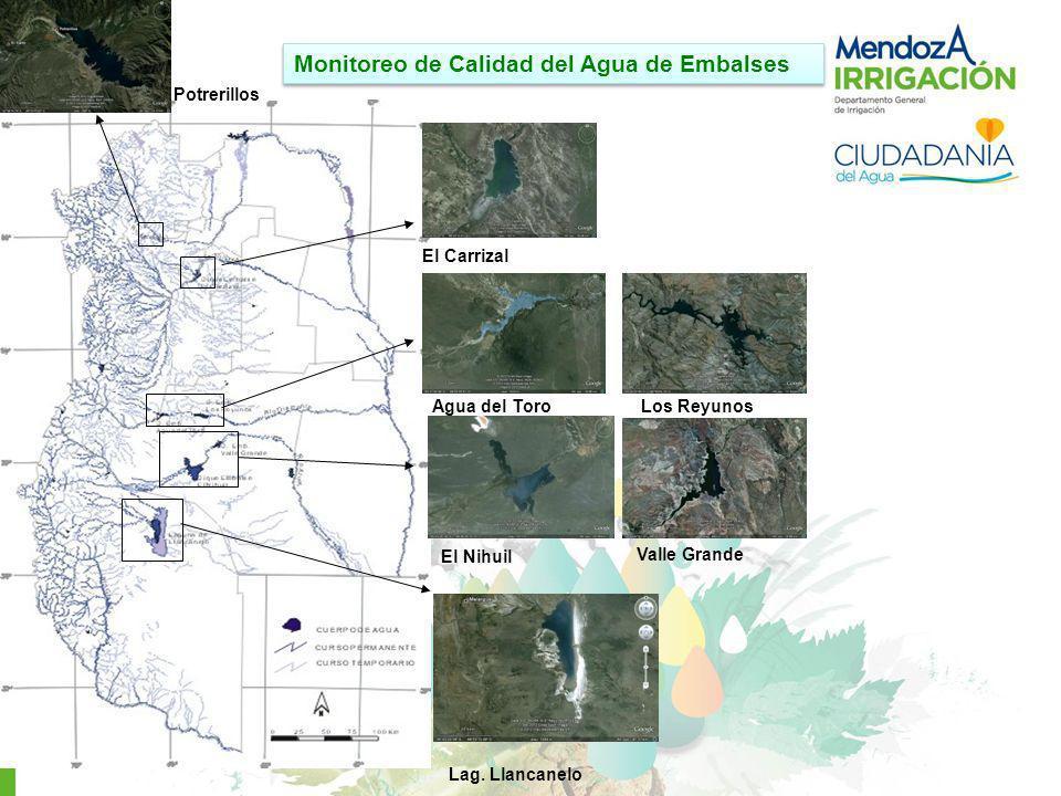Monitoreo de Calidad del Agua de Embalses Lag. Llancanelo El Nihuil Valle Grande Agua del ToroLos Reyunos El Carrizal Potrerillos