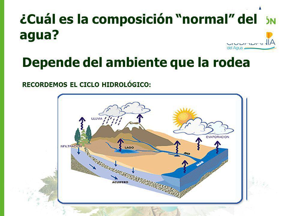 ¿Cuál es la composición normal del agua? Depende del ambiente que la rodea RECORDEMOS EL CICLO HIDROLÓGICO: