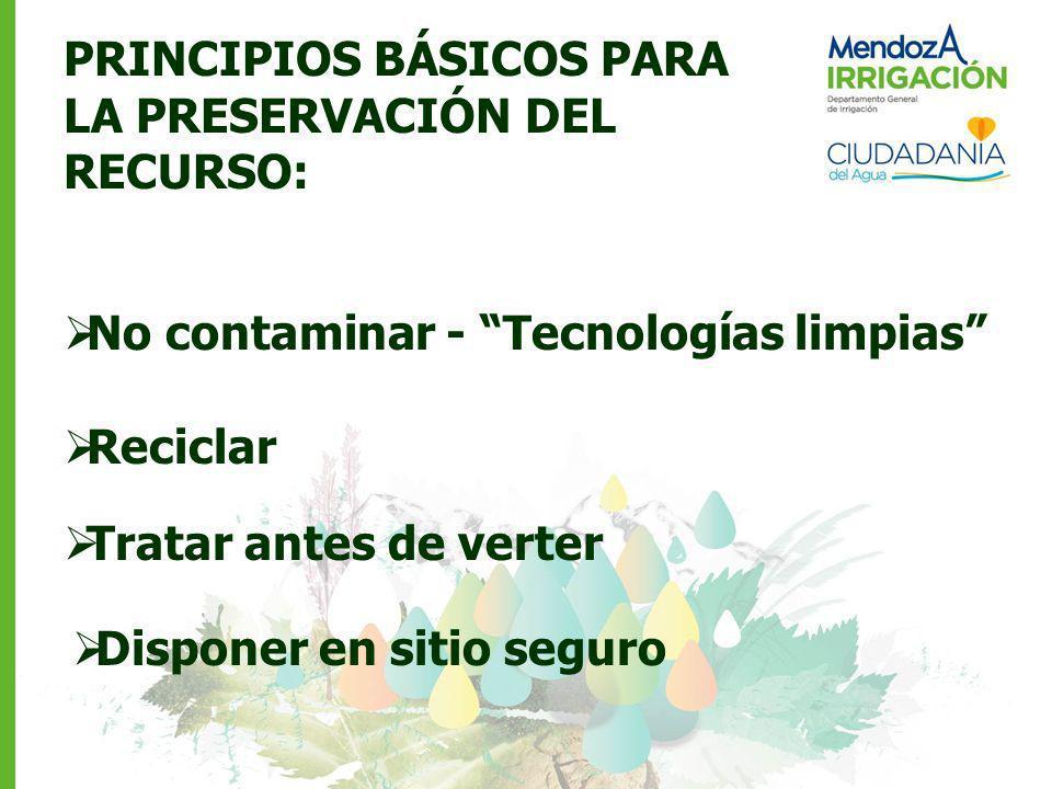 PRINCIPIOS BÁSICOS PARA LA PRESERVACIÓN DEL RECURSO: No contaminar - Tecnologías limpias Reciclar Tratar antes de verter Disponer en sitio seguro