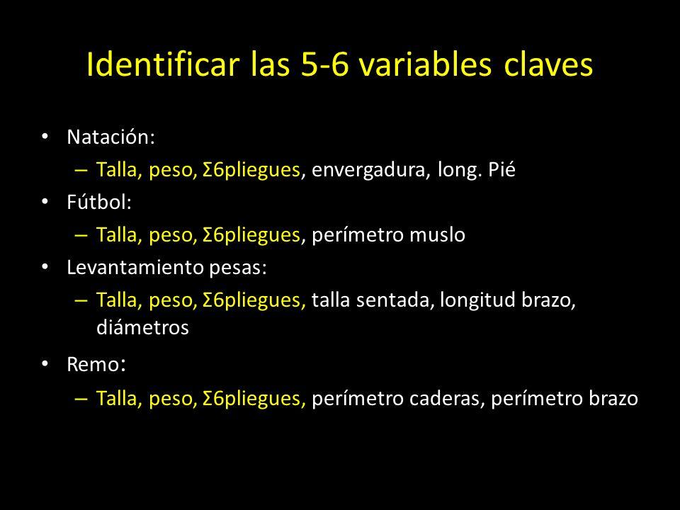Identificar las 5-6 variables claves Natación: – Talla, peso, Σ6pliegues, envergadura, long. Pié Fútbol: – Talla, peso, Σ6pliegues, perímetro muslo Le