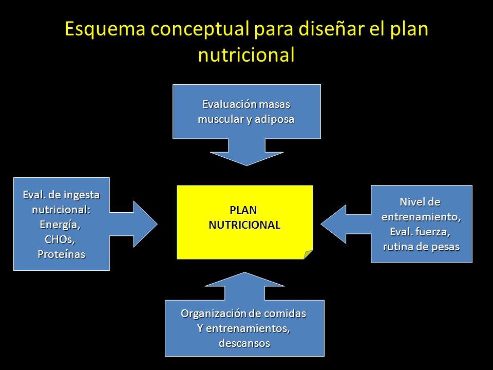 Esquema conceptual para diseñar el plan nutricional Evaluación masas muscular y adiposa Nivel de entrenamiento, Eval. fuerza, rutina de pesas Eval. de