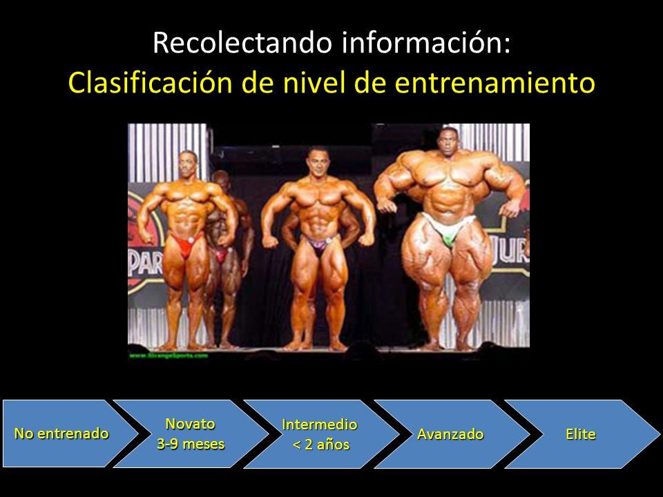 Recolectando información: Clasificación de nivel de entrenamiento No entrenado Novato 3-9 meses Intermedio < 2 años AvanzadoElite