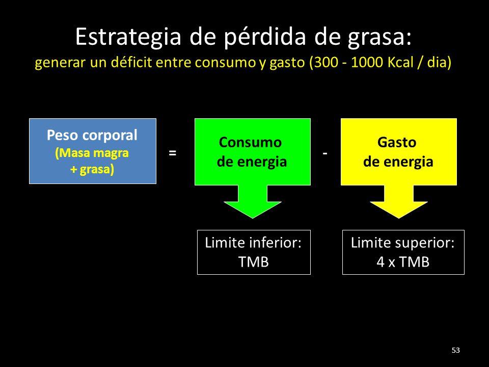 53 Estrategia de pérdida de grasa: generar un déficit entre consumo y gasto (300 - 1000 Kcal / dia) Peso corporal (Masa magra + grasa) = Consumo de energia - Gasto de energia Limite inferior: TMB Limite superior: 4 x TMB