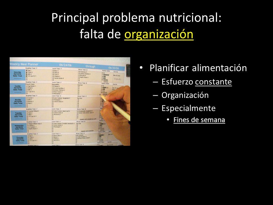 Principal problema nutricional: falta de organización Planificar alimentación – Esfuerzo constante – Organización – Especialmente Fines de semana