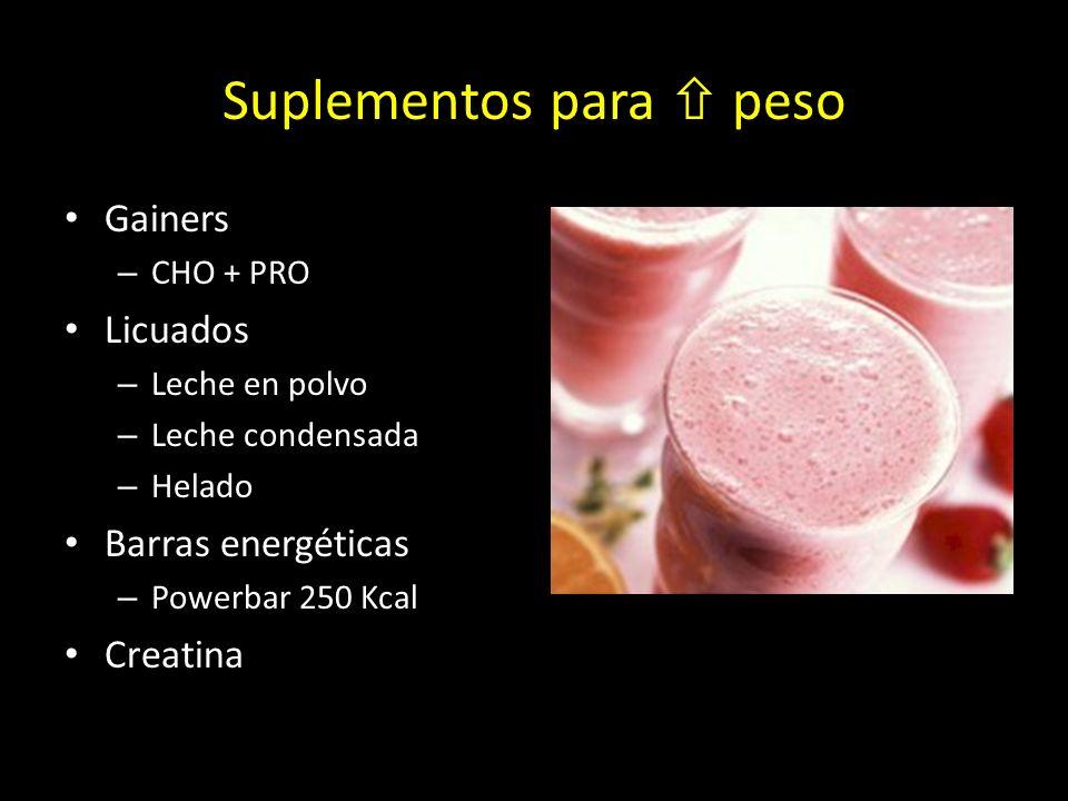 Suplementos para peso Gainers – CHO + PRO Licuados – Leche en polvo – Leche condensada – Helado Barras energéticas – Powerbar 250 Kcal Creatina