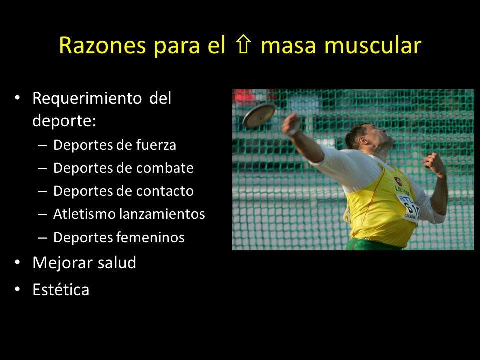 Razones para el masa muscular Requerimiento del deporte: – Deportes de fuerza – Deportes de combate – Deportes de contacto – Atletismo lanzamientos – Deportes femeninos Mejorar salud Estética