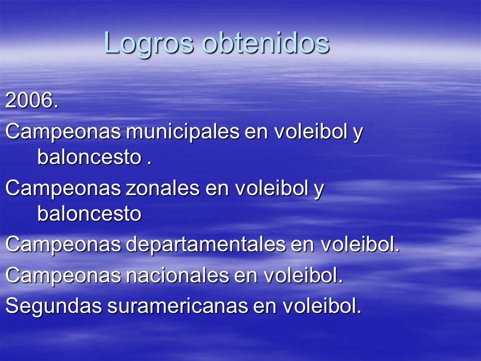 Logros obtenidos 2006. Campeonas municipales en voleibol y baloncesto. Campeonas zonales en voleibol y baloncesto Campeonas departamentales en voleibo
