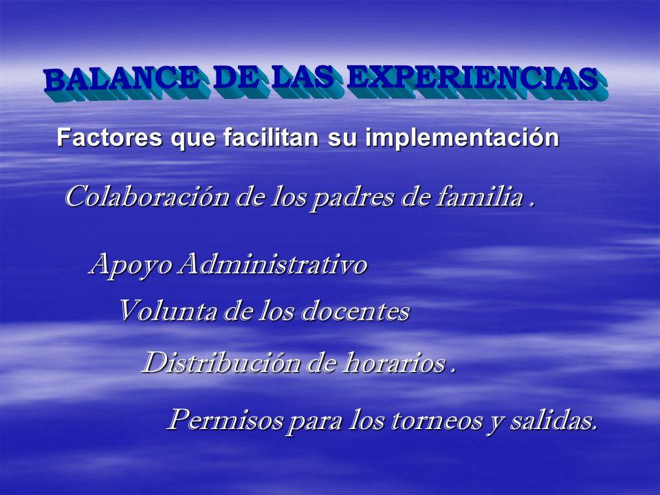 Factores que facilitan su implementación Colaboración de los padres de familia. Apoyo Administrativo Volunta de los docentes Distribución de horarios.