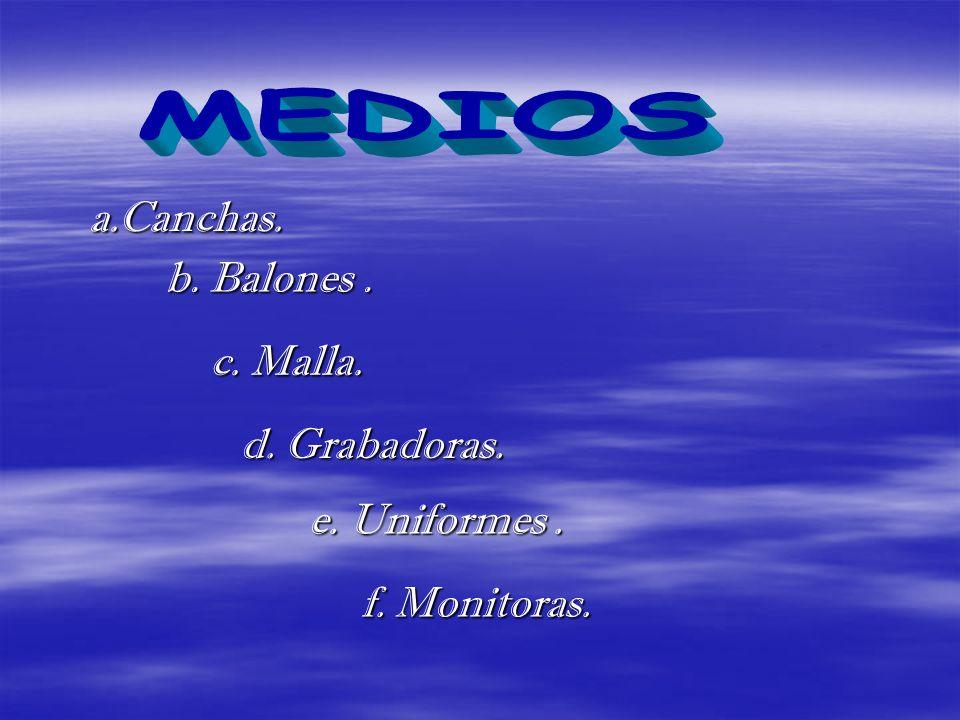 a.Canchas. b. Balones. c. Malla. d. Grabadoras. e. Uniformes. f. Monitoras.