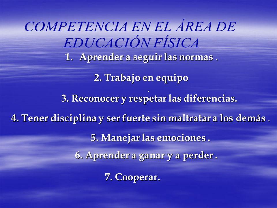 1. Aprender 1. Aprender a seguir las normas normas. 2. Trabajo en equipo. 3. Reconocer y respetar las diferencias. 4. Tener disciplina y ser fuerte si