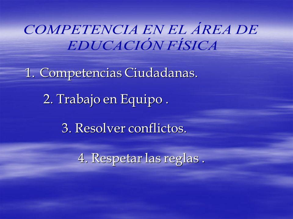 1.Competencias 1.Competencias Ciudadanas. 2. Trabajo en Equipo. 3. Resolver conflictos. 4. Respetar las reglas.