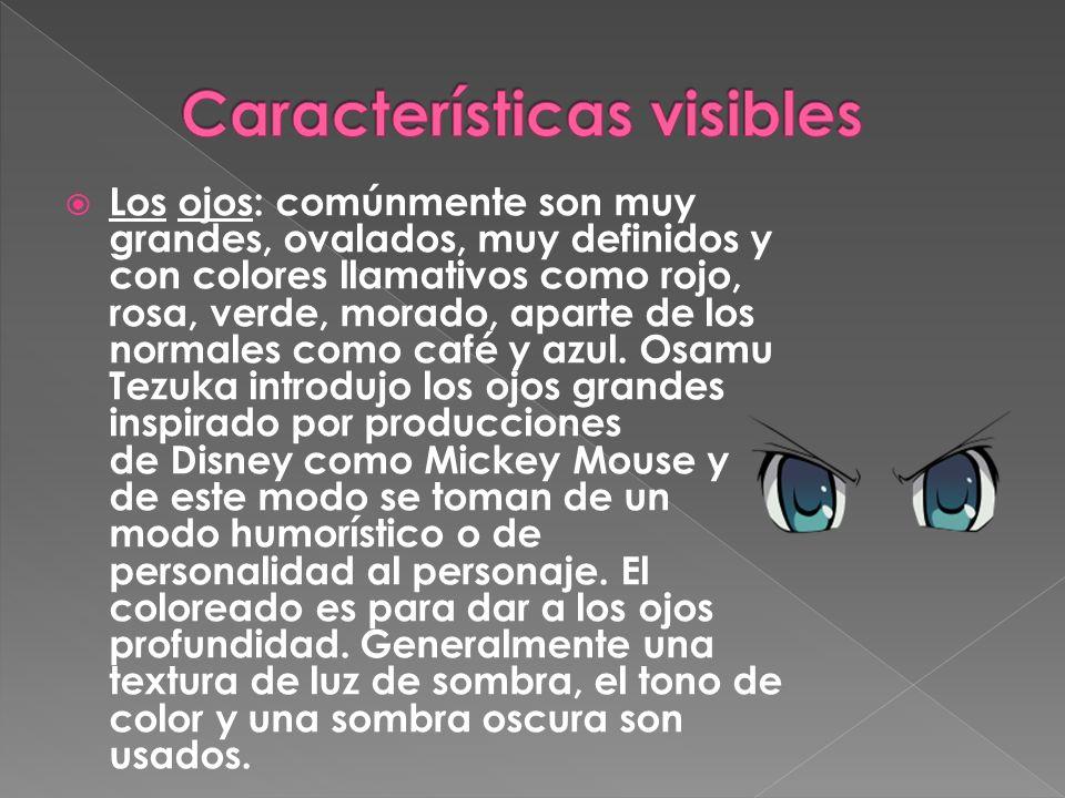 Los ojos: comúnmente son muy grandes, ovalados, muy definidos y con colores llamativos como rojo, rosa, verde, morado, aparte de los normales como caf