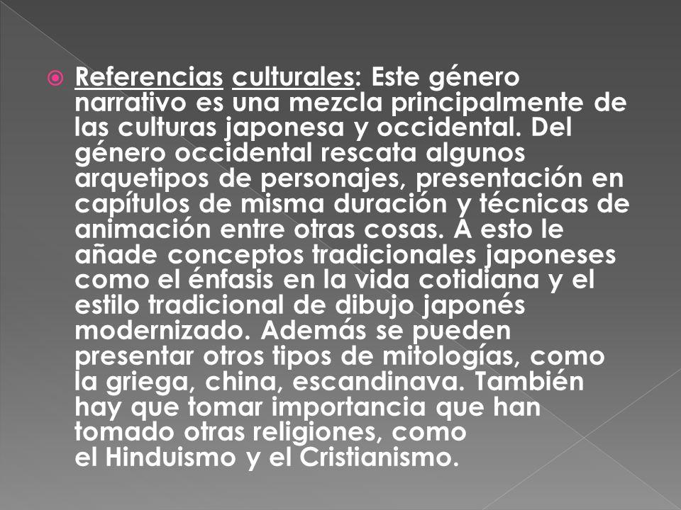 Referencias culturales: Este género narrativo es una mezcla principalmente de las culturas japonesa y occidental. Del género occidental rescata alguno