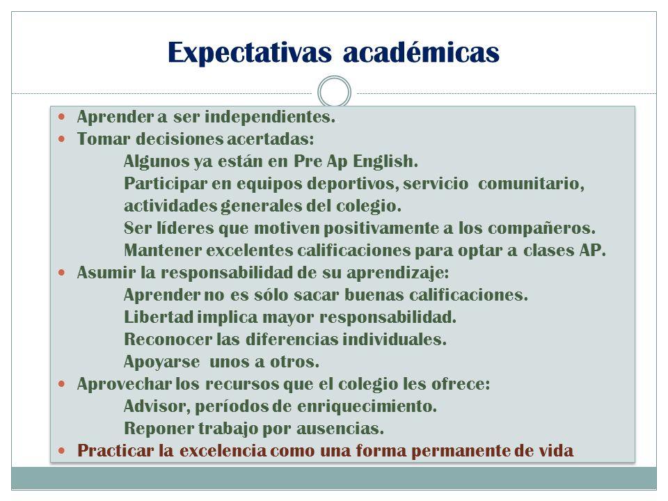 Expectativas académicas Aprender a ser independientes.