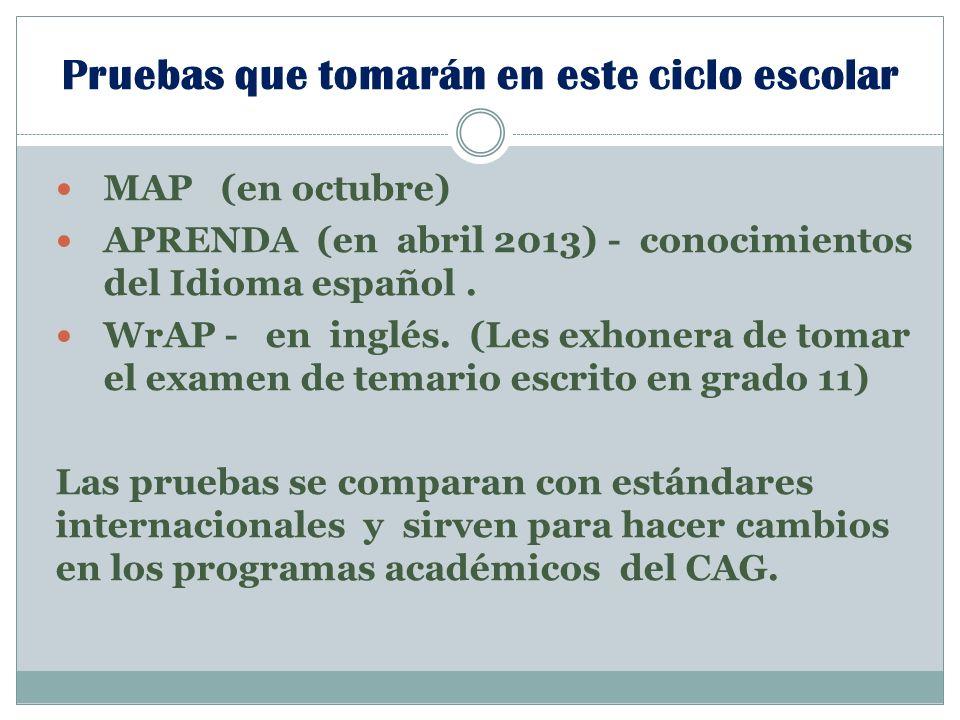 Pruebas que tomarán en este ciclo escolar MAP (en octubre) APRENDA (en abril 2013) - conocimientos del Idioma español.