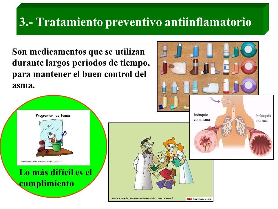 3.- Tratamiento preventivo antiinflamatorio Son medicamentos que se utilizan durante largos periodos de tiempo, para mantener el buen control del asma
