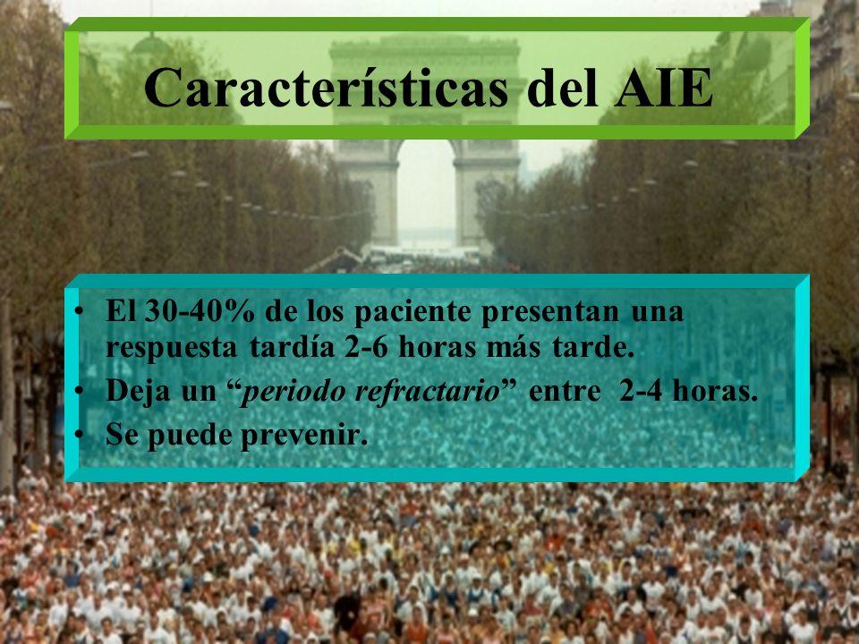 Características del AIE El 30-40% de los paciente presentan una respuesta tardía 2-6 horas más tarde. Deja un periodo refractario entre 2-4 horas. Se
