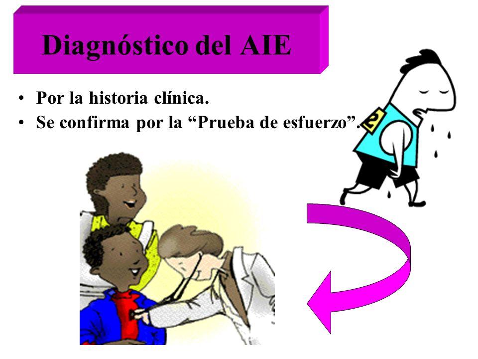 Diagnóstico del AIE Por la historia clínica. Se confirma por la Prueba de esfuerzo.
