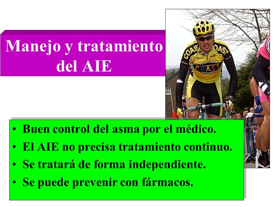 Manejo y tratamiento del AIE Buen control del asma por el médico. El AIE no precisa tratamiento continuo. Se tratará de forma independiente. Se puede