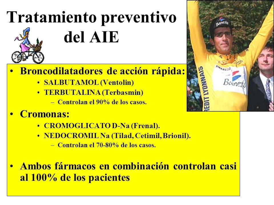 Tratamiento preventivo del AIE Broncodilatadores de acción rápida: SALBUTAMOL (Ventolin) TERBUTALINA (Terbasmin) –Controlan el 90% de los casos. Cromo