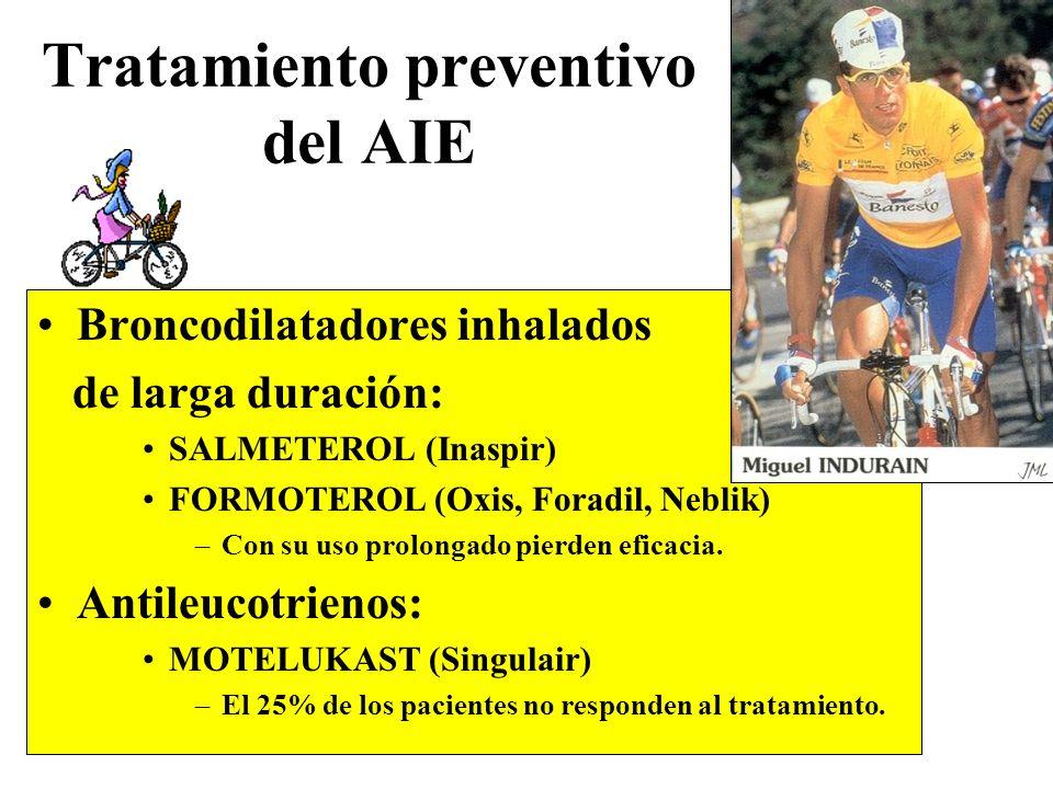 Tratamiento preventivo del AIE Broncodilatadores inhalados de larga duración: SALMETEROL (Inaspir) FORMOTEROL (Oxis, Foradil, Neblik) –Con su uso prol