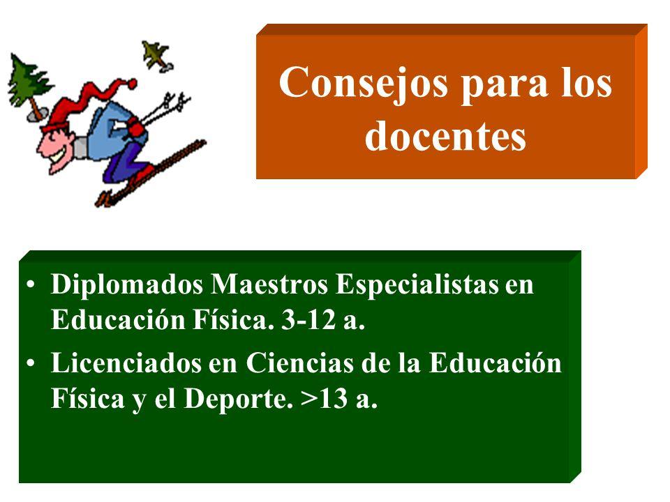 Consejos para los docentes Diplomados Maestros Especialistas en Educación Física. 3-12 a. Licenciados en Ciencias de la Educación Física y el Deporte.