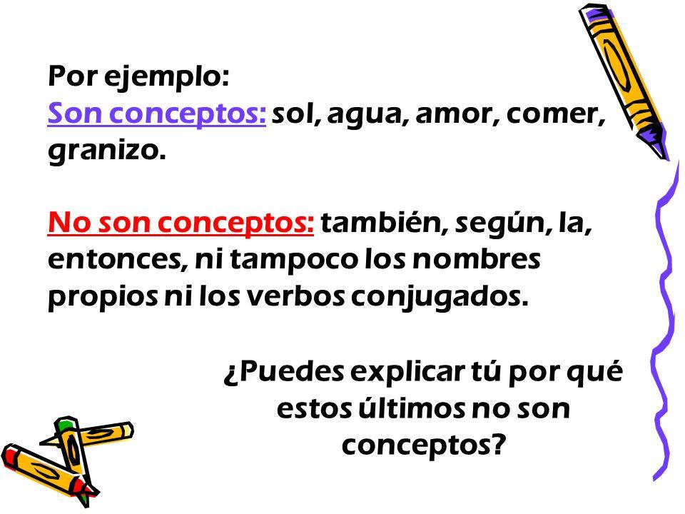 Por ejemplo: Son conceptos: sol, agua, amor, comer, granizo. No son conceptos: también, según, la, entonces, ni tampoco los nombres propios ni los ver